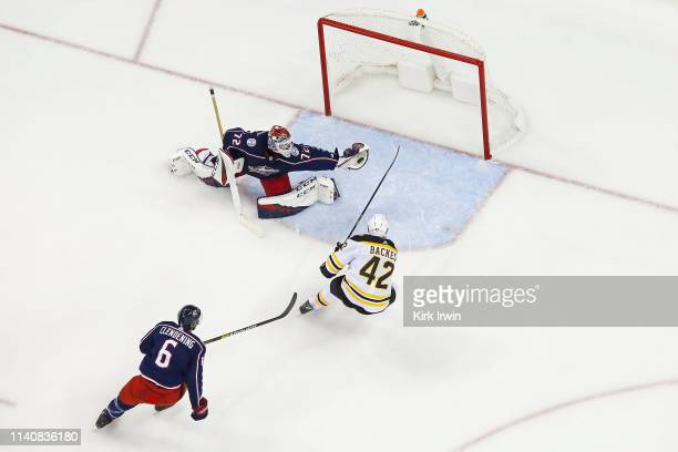 Sergei Bobrovsky of the Columbus Blue Jackets stops a shot from David Backes of the Boston Bruins during the third period in Game Four of the Eastern...