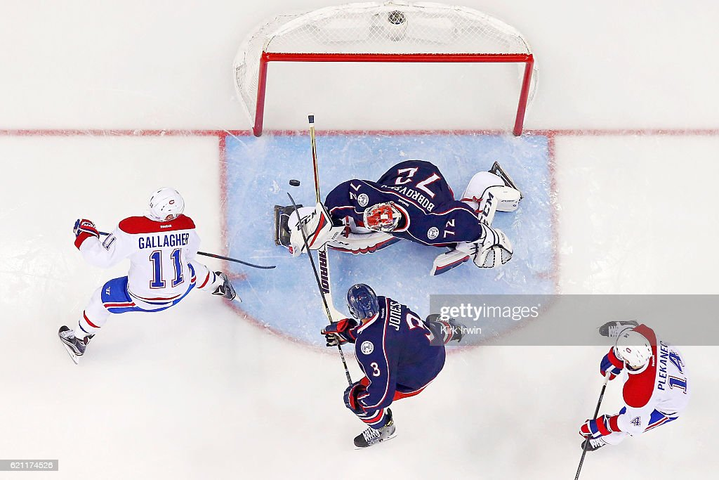 Sergei Bobrovsky #72 of the Columbus Blue Jackets stops a shot from Brendan Gallagher #11 of the Montreal Canadiens during the third period on November 4, 2016 at Nationwide Arena in Columbus, Ohio. Columbus defeated Montreal 10-0.