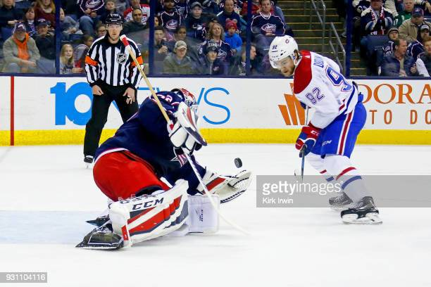 Sergei Bobrovsky of the Columbus Blue Jackets stops a shot from Jonathan Drouin of the Montreal Canadiens during the first period on March 12 2018 at...
