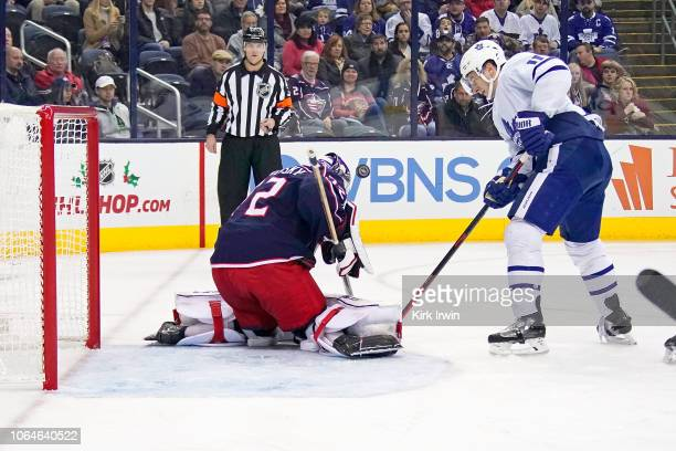 Sergei Bobrovsky of the Columbus Blue Jackets stops a shot from Zach Hyman of the Toronto Maple Leafs during the third period on November 23 2018 at...