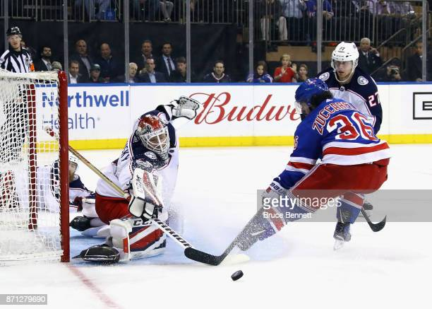 Sergei Bobrovsky of the Columbus Blue Jackets stops Mats Zuccarello of the New York Rangers at Madison Square Garden on November 6 2017 in New York...