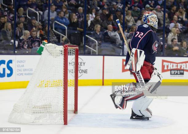 Sergei Bobrovsky of the Columbus Blue Jackets stretches his knee after making a save during the third period of the game between the Columbus Blue...