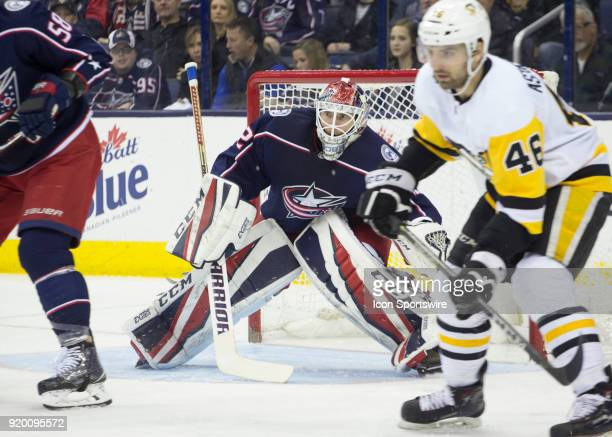Sergei Bobrovsky of the Columbus Blue Jackets tends net during second period of the game between the Columbus Blue Jackets and the Pittsburgh...