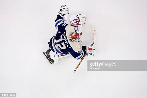 Sergei Bobrovsky of the Columbus Blue Jackets warms up prior to the start of the game against the Ottawa Senators on January 19 2017 at Nationwide...