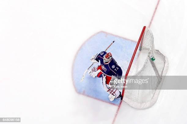 Sergei Bobrovsky of the Columbus Blue Jackets warms up prior to the start of the game against the Minnesota Wild on March 2 2017 at Nationwide Arena...