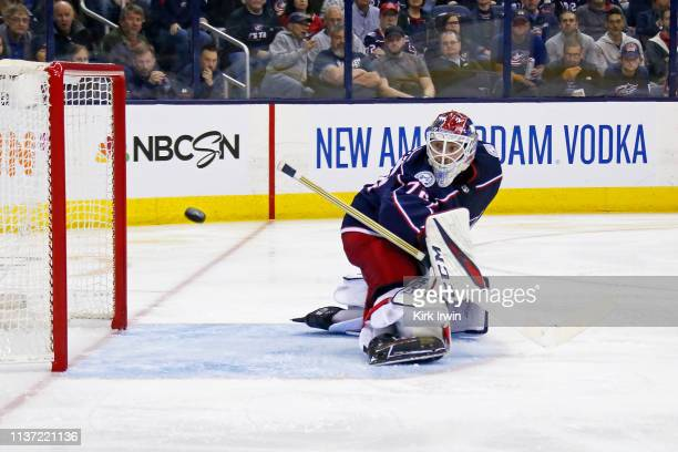 Sergei Bobrovsky of the Columbus Blue Jackets watches the puck bounce off of the post during the third period of Game Three of the Eastern Conference...