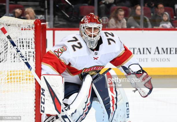 Sergei Bobrovsky of the Florida Panthers gets ready to make a save against the Arizona Coyotes at Gila River Arena on February 25 2020 in Glendale...