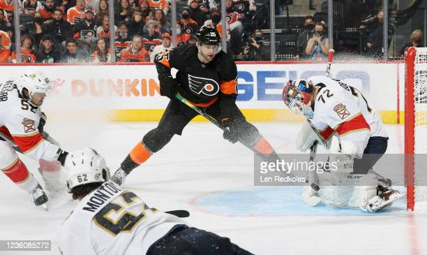 Sergei Bobrovsky of the Florida Panthers makes a pad save on a scoring attempt by James van Riemsdyk of the Philadelphia Flyers at the Wells Fargo...