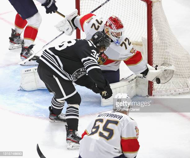 Sergei Bobrovsky of the Florida Panthers makes a save on a shot by Brandon Hagel of the Chicago Blackhawks at the United Center on May 01, 2021 in...