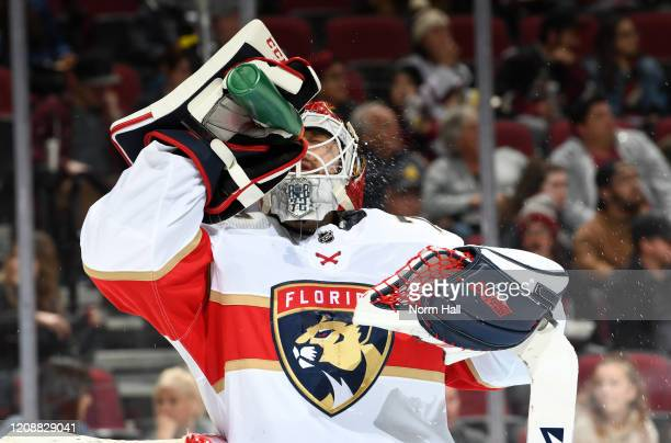 Sergei Bobrovsky of the Florida Panthers sprays water in his face during a stop in play against the Arizona Coyotes at Gila River Arena on February...