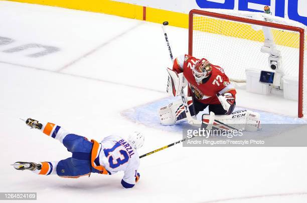 Sergei Bobrovsky of the Florida Panthers stops a shot by Mathew Barzal of the New York Islanders in the first period in Game Four of the Eastern...