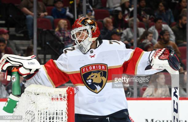 Sergei Bobrovsky of the Florida Panthers takes a drink of water during a stop in play against the Arizona Coyotes at Gila River Arena on February 25...