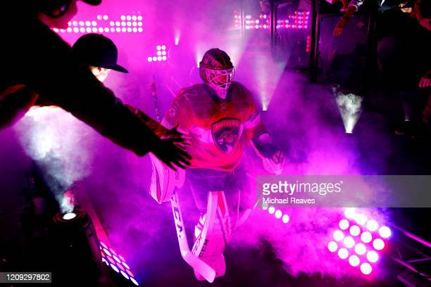 Sergei Bobrovsky of the Florida Panthers takes the ice prior to the game against the Toronto Maple Leafs at BB&T Center on February 27, 2020 in...