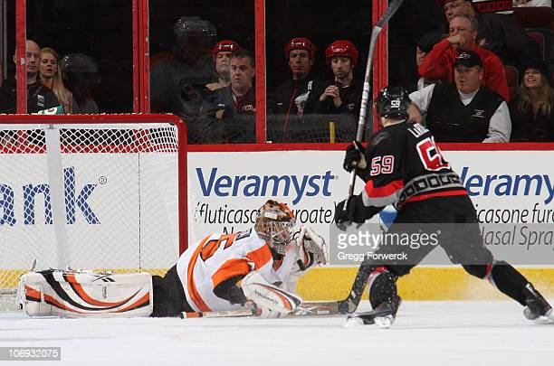 Sergei Bobrovsky of the Philadelphia Flyers goes down in the crease to make a save on a shot by Chad LaRose during a NHL game on November 11 2010 at...