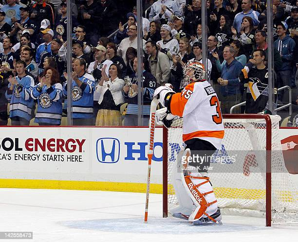 Sergei Bobrovsky of the Philadelphia Flyers reacts after giving up a goal to Pascal Dupuis of the Pittsburgh Penguins during the game at Consol...