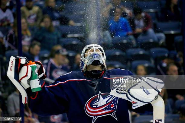 Sergei Bobrovsky spits out a drink of water prior to the start of the third period of the game against the Colorado Avalanche on October 9 2018 at...