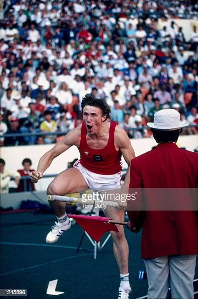 Sergei Bubka of the Soviet Union reacts during the opening height of the men's pole vault competition during the 1988 Summer Olympics Games on...