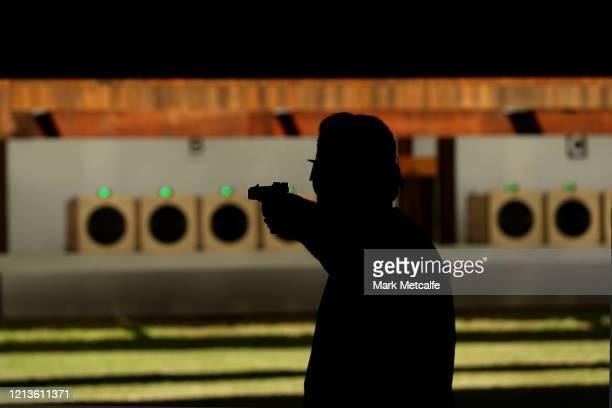 Sergei Evglevski of Victoria competes during the Men's Rapid Fire Pistol event during the Australia Olympic Games Pistol & Shotgun Nomination Trials...