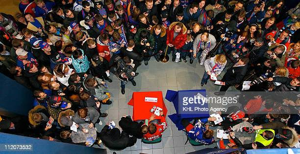 Sergei Fedorov of the Jagr team and Alexei Yashin of the Yashin team are seen at an autograph session before the KHL All Star Game on February 05...