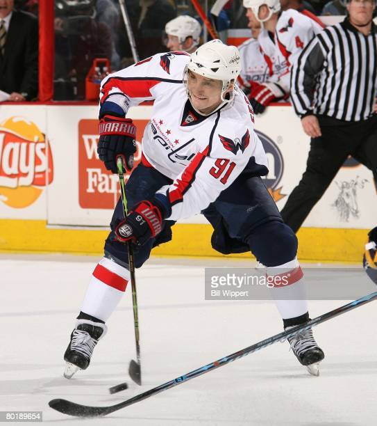 Sergei Fedorov of the Washington Capitals skates against the Buffalo Sabres on March 5, 2008 at HSBC Arena in Buffalo, New York.