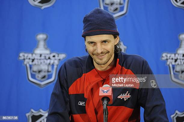 Sergei Fedorov of the Washington Capitals talks to the media after Game Seven of the Eastern Conference Quarterfinals of the 2009 NHL Stanley Cup...