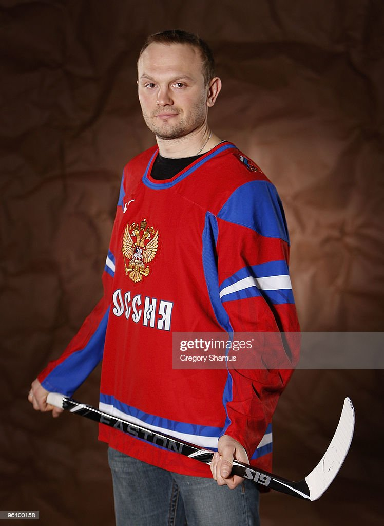 Sergei Gonchar #55 of the Pittsburgh Penguins poses for a portrait in his Team Russia 2010 Olympic jersey on February 3, 2010 at Mellon Arena in Pittsburgh, Pennsylvania.