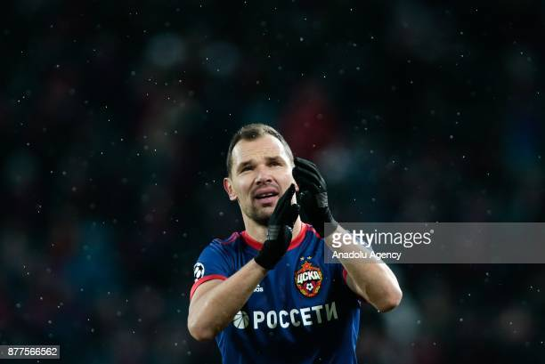 Sergei Ignashevich of CSKA Moscow celebrates after the UEFA Champions League Group A soccer match between CSKA Moscow and Benfica at VEB Arena in...