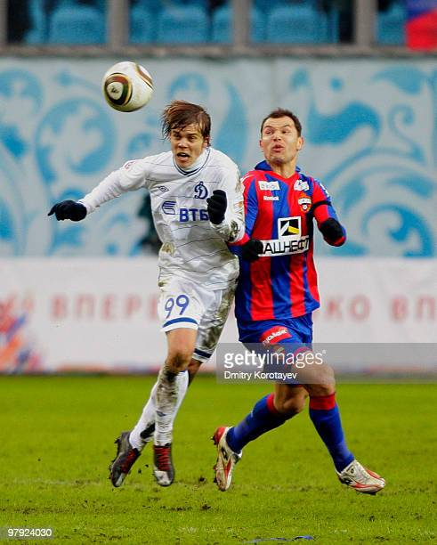 Sergei Ignashevich of PFC CSKA Moscow battles for the ball with Aleksandr Kokorin of FC Dynamo Moscow during the Russian Football League Championship...