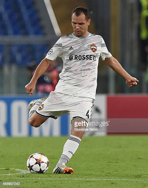 Sergei Ignashevich of PFC CSKA Moskva in action during the UEFA Champions League Group E match between AS Roma and PFC CSKA Moskva on September 17...