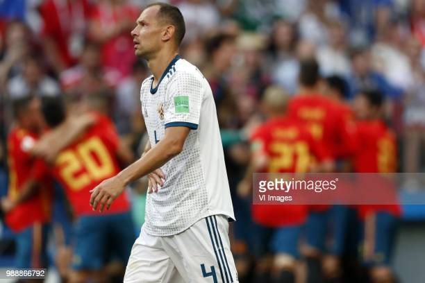 Sergei Ignashevich of Russia during the 2018 FIFA World Cup Russia round of 16 match between Spain and Russia at the Luzhniki Stadium on July 01 2018...