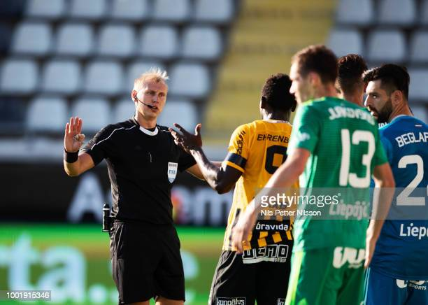 Sergei Ivanov referee during the UEFA Europa League Qualifier match between BK Hacken and FK Liepaja at Bravida Arena on July 19 2018 in Gothenburg...