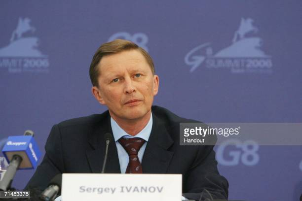 Sergei Ivanov, Russia's Defense Minister and Deputy Prime Minister, addresses a news briefing at the G8 summit international press center on July 15,...
