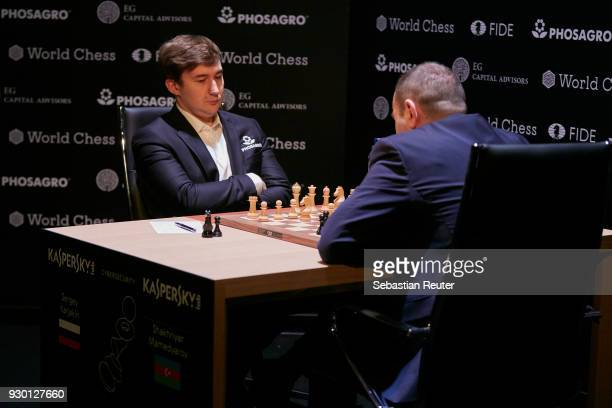 Sergei Karjakin is seen playing the first round at the First Move Ceremony during the World Chess Tournament on March 10 2018 in Berlin Germany