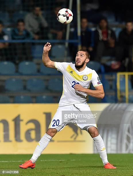 Sergei Khizhnichenko of Kazakhstan in action during the FIFA 2018 World Cup Qualifier between Montenegro and Kazakhstan at Podgorica City Stadium on...