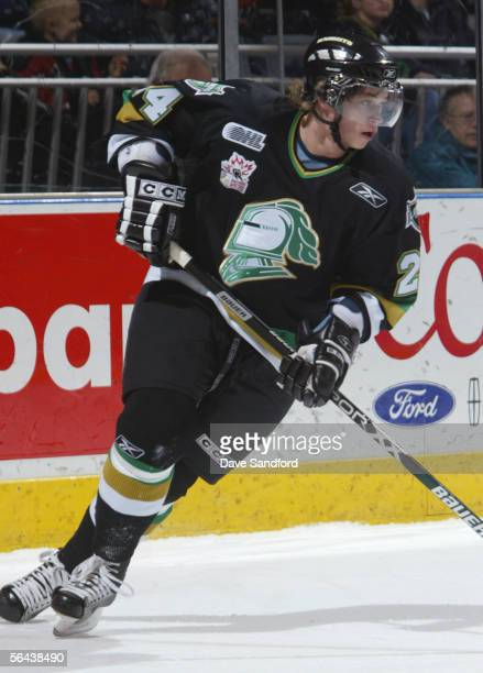 Sergei Kostitsyn of the London Knights skates during the game the Sault Saint Marie Greyhounds at the John Labatt Centre December 2, 2005 in London,...