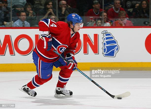 Sergei Kostitsyn of the Montreal Canadiens skates up ice with the puck against the Ottawa Senators at the Bell Centre on March 13, 2008 in Montreal,...