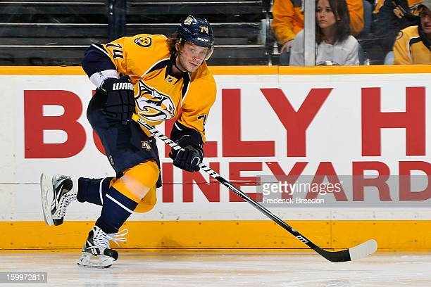 Sergei Kostitsyn of the Nashville Predators plays against the Columbus Blue Jackets at Bridgestone Arena on January 19 2013 in Nashville Tennessee