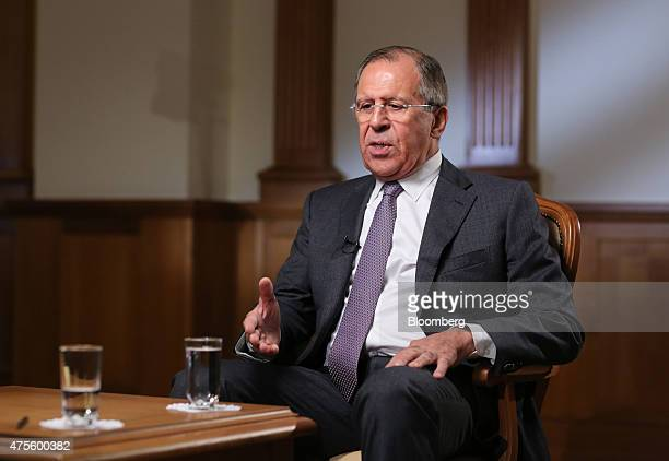 Sergei Lavrov Russia's foreign minister gestures whilst speaking during a Bloomberg Television interview in Moscow Russia on Tuesday June 2 2015...