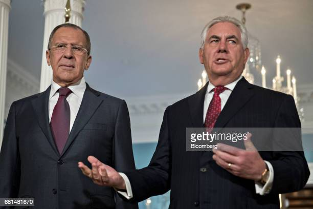 Sergei Lavrov Russia's foreign minister left listens as Rex Tillerson US Secretary of State speaks during a photo opportunity at the US Department of...