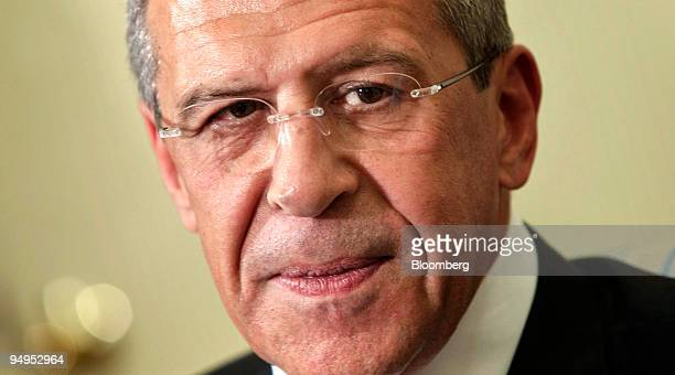 Sergei Lavrov Russia's foreign minister listens during a meeting with US President Barack Obama unseen in the Oval Office of the White House in...