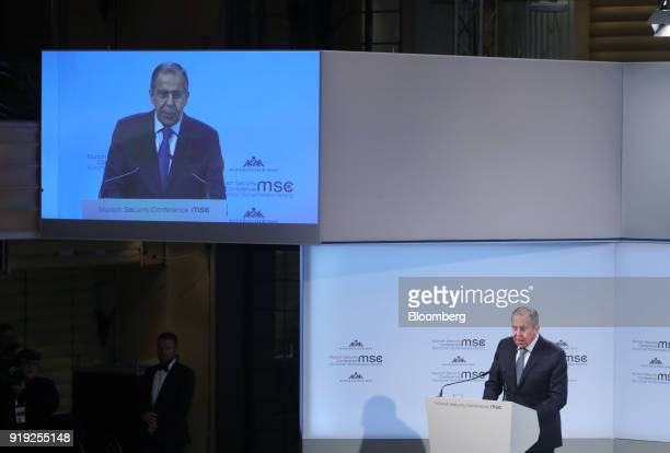 Sergei Lavrov Russia's foreign minister speaks at the Munich Security Conference in Munich Germany on Saturday Feb 17 2018 Lavrov cites Vice...