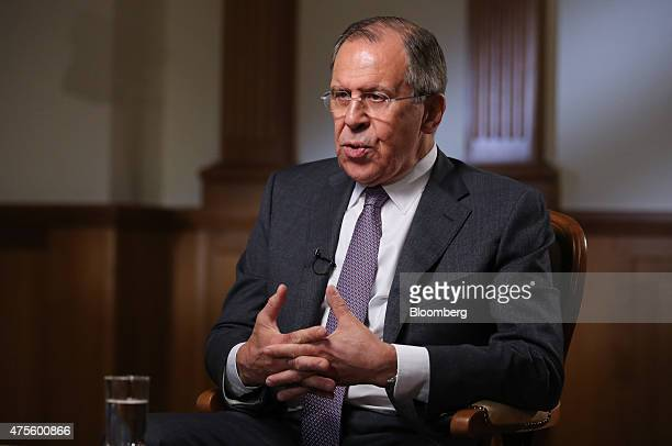 Sergei Lavrov Russia's foreign minister speaks during a Bloomberg Television interview in Moscow Russia on Tuesday June 2 2015 Relations between...
