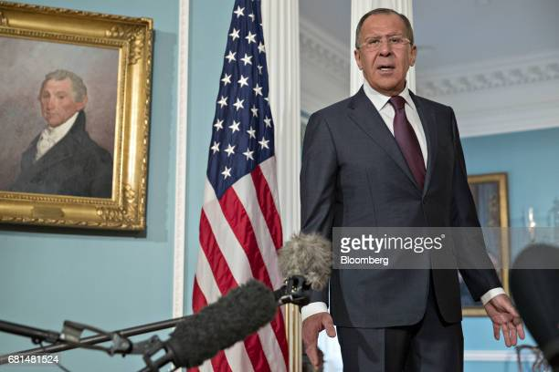 Sergei Lavrov Russia's foreign minister speaks to members of the media during a photo opportunity with Rex Tillerson US Secretary of State not...