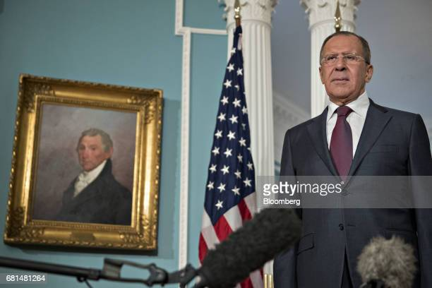Sergei Lavrov Russia's foreign minister stands as Rex Tillerson US Secretary of State not pictured speaks during a photo opportunity at the US...