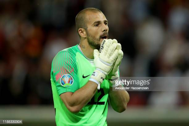 Sergei Lepmets keepr of Estonia reacts during the UEFA Euro 2020 Qualifier match between Germany and Estonia at Opel Arena on June 11 2019 in Mainz...