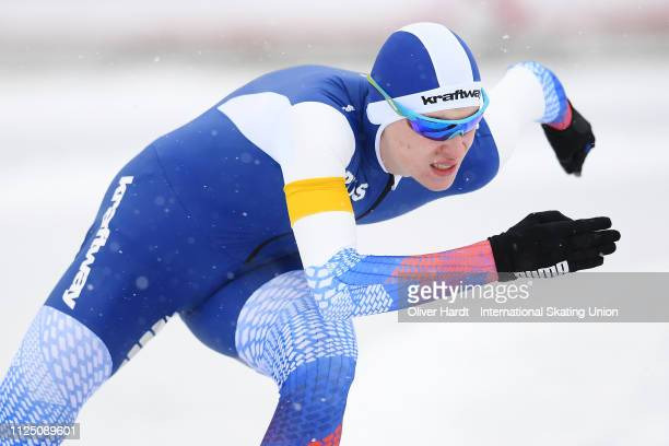 Sergei Loginov of Russia competes during the Men 1000 meter sprint race Day 1 of Junior World Cup Speed Skating at the Oulunkylaen Liikuntapuistoon...