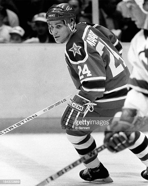 Sergei Makarov of CSKA Moscow skates on the ice during an international game against the New Jersey Devils on January 2 1989 at the Brendan Byrne...