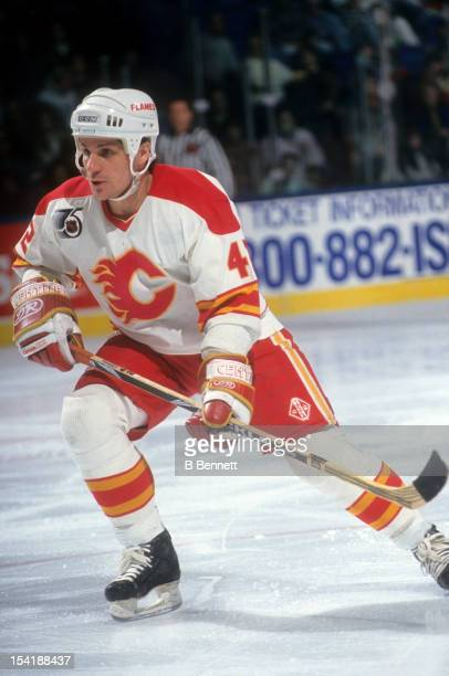 Sergei Makarov of the Calgary Flames skates on the ice during an NHL game in February 1992 at the Olympic Saddledome in Calgary Alberta Canada
