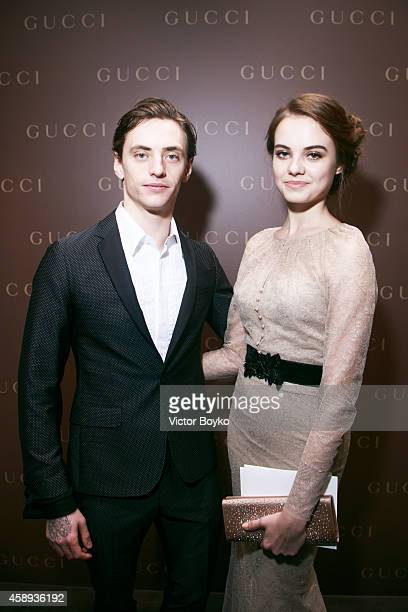 Sergei Polunin and Yulia Stolyarchuk attend Gucci New Petrovka Flagship Opening Cocktail Party on November 13 2014 in Moscow Russia