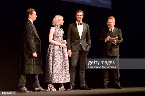 Sergei Polunin Lucy Boynton Tom Bateman and Kenneth Branagh attend the 'Murder On The Orient Express' World Premiere held at Royal Albert Hall on...